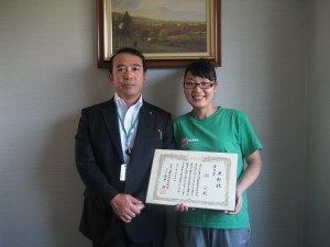 获得外国人技能实习生的日语作文竞赛会的优良奖